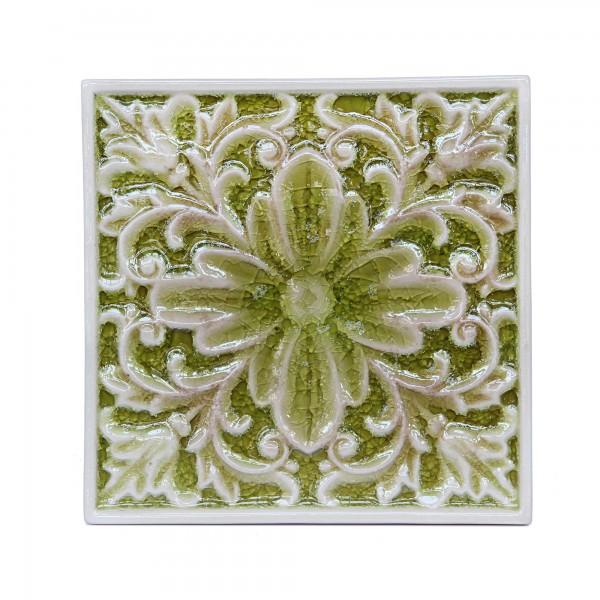 Steingutuntersetzer Blumenmuster, ockergrün, T 25 cm, B 25 cm, H 1,5 cm