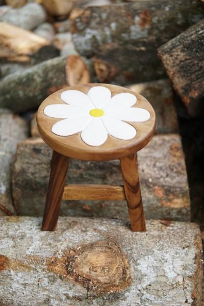 Hocker 'Blume', braun/weiß, H 25 cm, Ø 25 cm