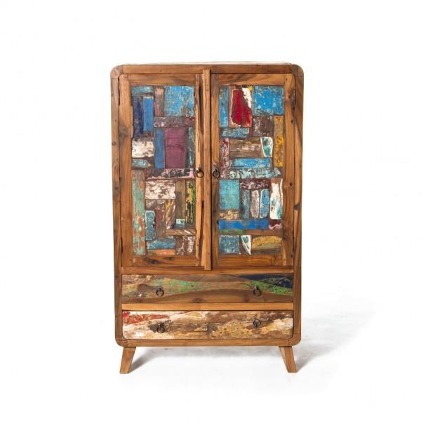 "Schrank ""Sampan"", braun/multicolor, T 40 cm, B 75 cm, H 125 cm"