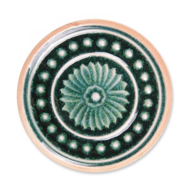 Steingutuntersetzer 'Punkte', dunkelgrün, Ø 11 cm, H 1 cm
