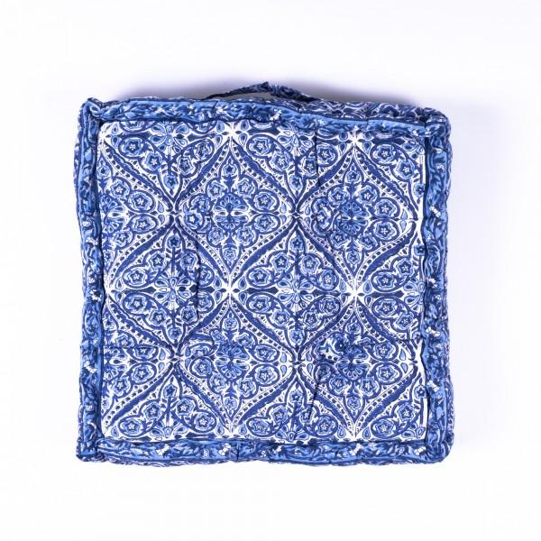 Sitzkissen 'Gulika', manuelles Blockprintverfahren, L 40 cm, B 40 cm, H 8 cm