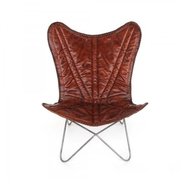 Lounger 'Flinn', braun, Gestell silber, T 68 cm, B 75 cm, H 91 cm