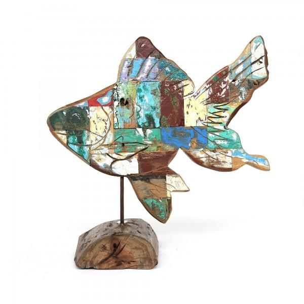 Fisch aus Bootsholz, multicolor, T 2 cm, B 41 cm, H 50 cm