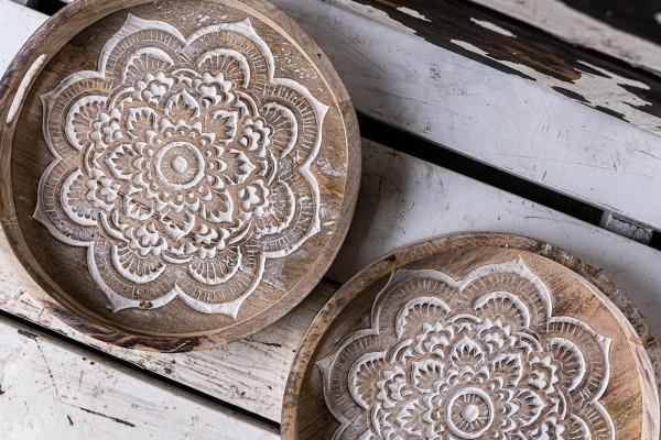 Tablett 'Mandala', natur, Ø 35 cm, H 9 cm