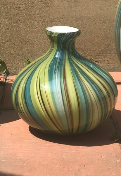 Glasvase bauchig, türkis, Ø 24 cm, H 25 cm