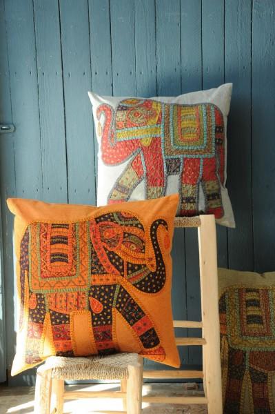 Kissenhülle 'Elefant', orange, L 60 cm, B 60 cm