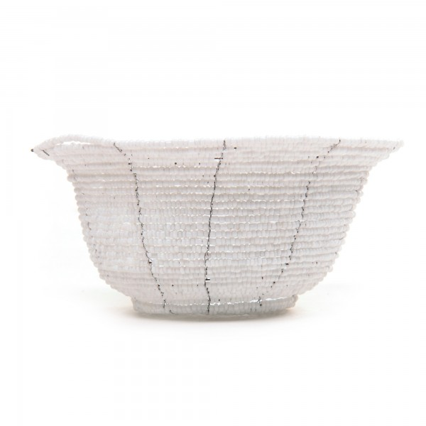 Glasperlenschale, weiß, Ø 13 cm, H 6 cm