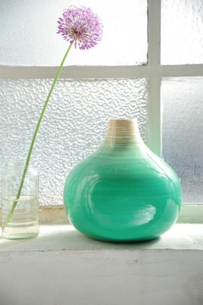 Bambusvase, türkis/natur, Ø 26 cm, H 26 cm