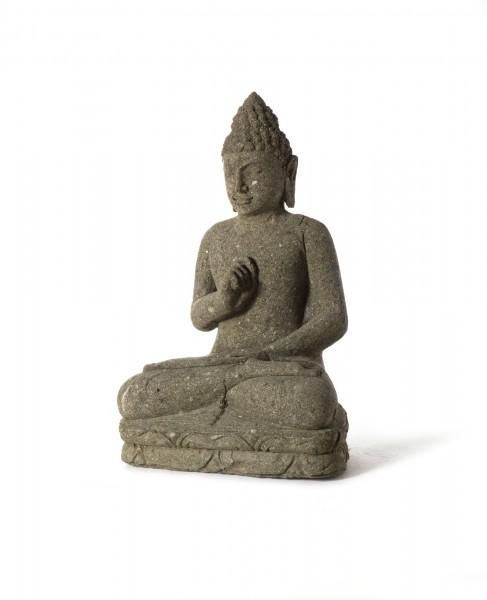 Naturstein 'Buddha' sitzend, grau, T 20 cm, B 30 cm, H 50 cm