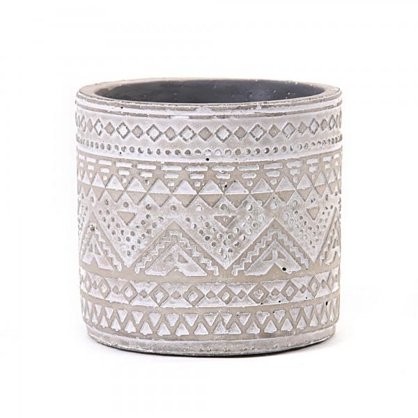 Zementtopf 'Maori' rund, grau, weiß, Ø 13,5 cm, H 13 cm