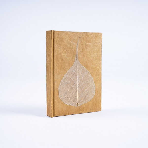 Notizbuch 'Blatt' aus handgeschöpftem Papier, beige, B 8 cm, H 11,5 cm