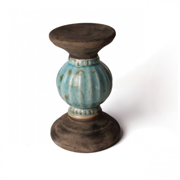 """Keramiksäule """"Bowl klein"""", türkis, Ø 15 cm, H 22 cm"""