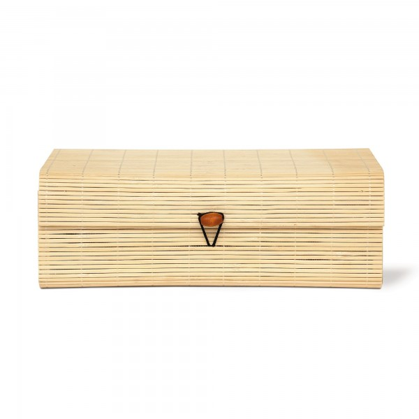 Bambus-Box M, hellbraun, T 12,5 cm, B 18 cm, H 6,5 cm