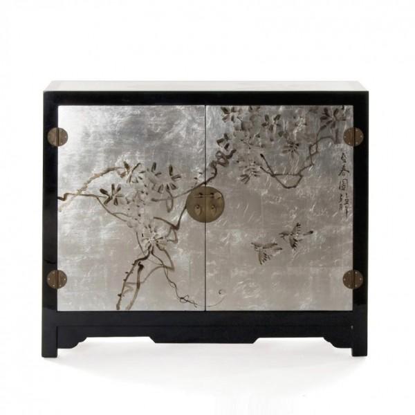 Sideboard, schwarz/silber, H 85 cm, B 100 cm, T 35 cm