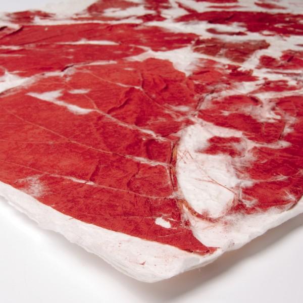 Geschenkpapier handgeschöpft, rot/weiß, L 55 cm, B 80 cm