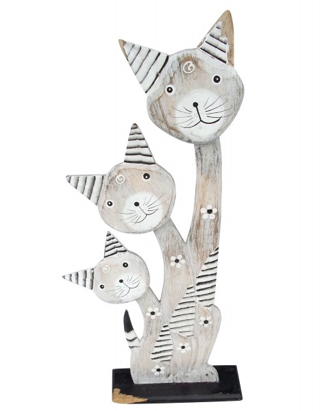 3er Holzkatze, weiß, H 55 cm