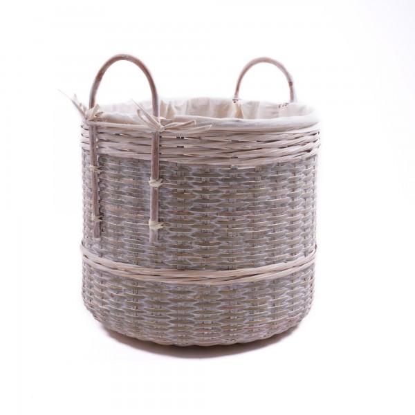 Bambuskorb mit Henkeln, natur, Größe L, Ø 48 cm, H 45 cm