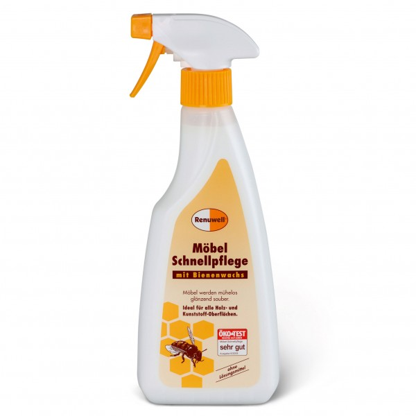 Möbel-Schnellpflege mit Bienenwachs, ideal für alle Holz- und Kunststoff-Oberflächen