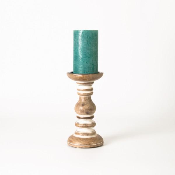 Handgeschnitzter Kerzenständer, braun, H 19 cm, Ø 10 cm
