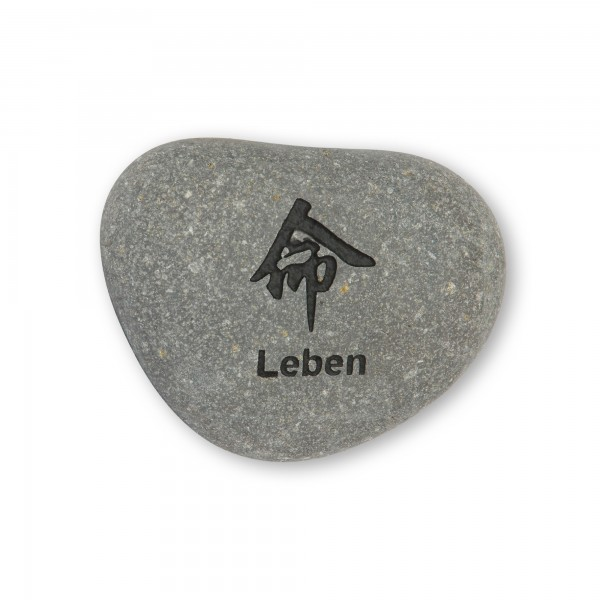 Flusskieselstein 'Leben', grau, T 7 cm, B 8 cm