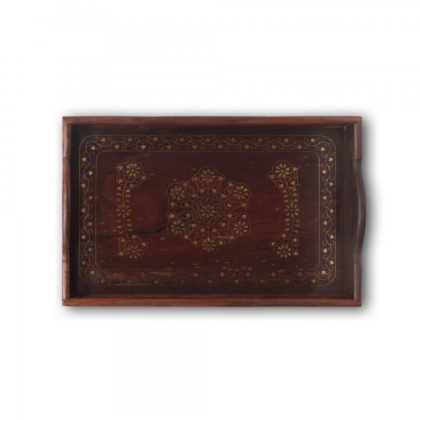 Holztablett mit Messingintarsien, braun, L 23 cm, B 35 cm