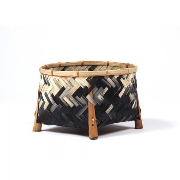 Bambuskorb, schwarz/natur, Ø 22 cm, H 15 cm