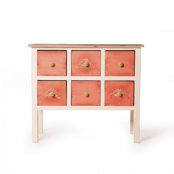 Schubladenschränkchen, mit Keramikknäufen, weiß/rot, L 38 cm, B 76 cm, H 66 cm
