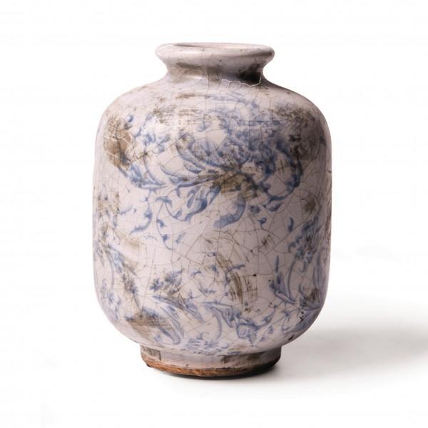 """Keramikvase """"Cahors"""", blau/weiß, Ø 10 cm, H 15 cm"""