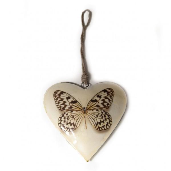"""Metallherz """"Schmetterling klein"""", weiß, B 9 cm, H 10 cm"""