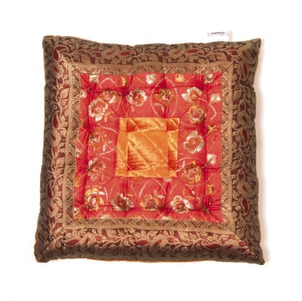 Kissen quadratisch, rot/gold, L 40 cm, B 40 cm