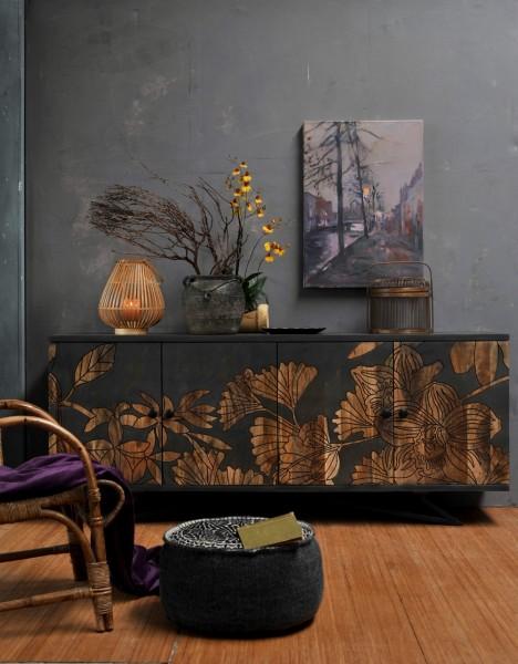 Sideboard 'Loisette', antikblau, T 45 cm, B 177 cm, H 75 cm