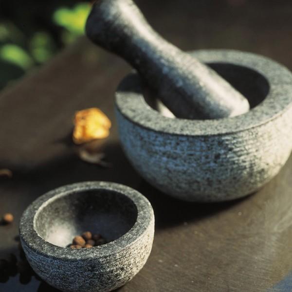 """Mörser """"Guacamole"""", 3-teilig, hellgrau/schwarz, H 6 cm, Ø 11,5 cm"""