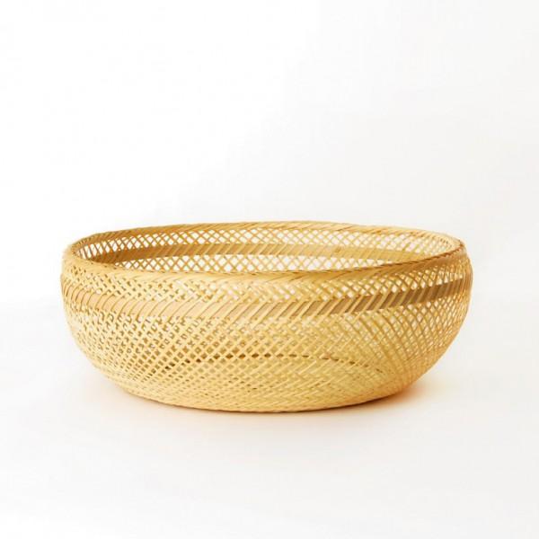 Korb rund geflochten, natur, H 10 cm, Ø 27 cm