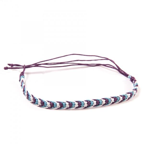 "Armband ""Milan"", aus Baumwolle, lila/türkis/weiß"