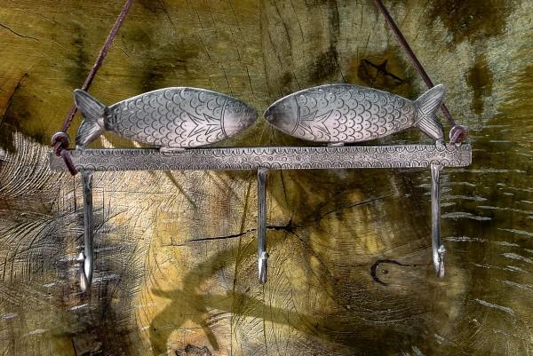 3er Wandhaken 'Fische' , braun, blau, T 30,5 cm, B 5 cm, H 14 cm
