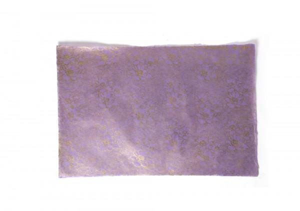 "Geschenkpapier ""Blumen violett"", handgeschöpft, L 51 cm, B 76 cm"