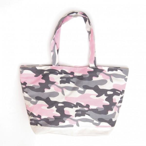 """Strandtasche """"Camouflage"""", rosa/grau"""