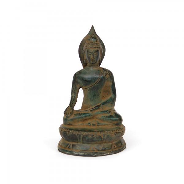 Buddha, grün, T 7 cm, B 8 cm, H 14 cm
