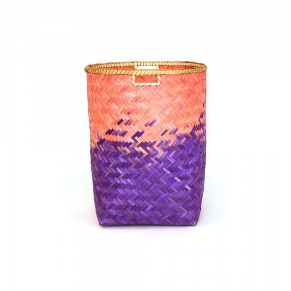 Bambuskorb L, lila/pink, Ø 44 cm, H 54 cm