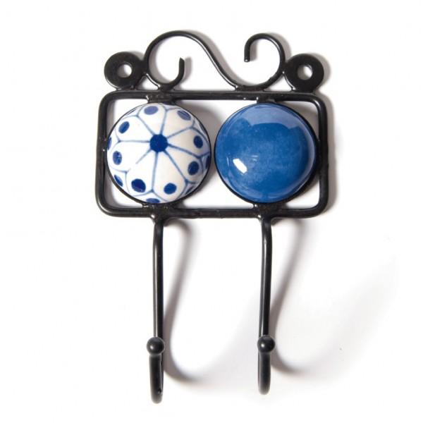 Wandhaken 2fach, blau/weiß, L 4,5 cm, B 10 cm, H 15 cm
