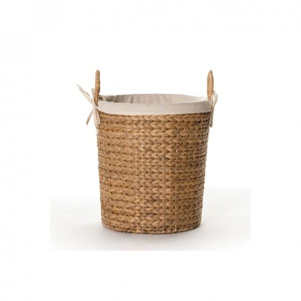 Wäschekorb mit Innenfutter, natur, H 39 cm, Ø 35 cm