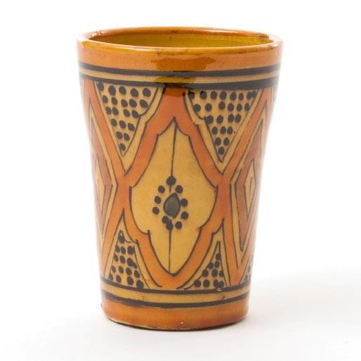 "Trinkbecher ""Safi"", braun Ornament, H 13 cm, Ø 10 cm"