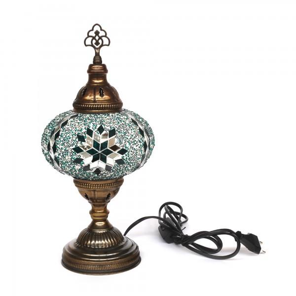 Mosaiklampe 'Stern', türkis, T 17 cm, B 17 cm, H 36 cm