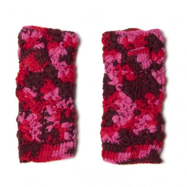 Pulswärmer, pink, Blumenmuster