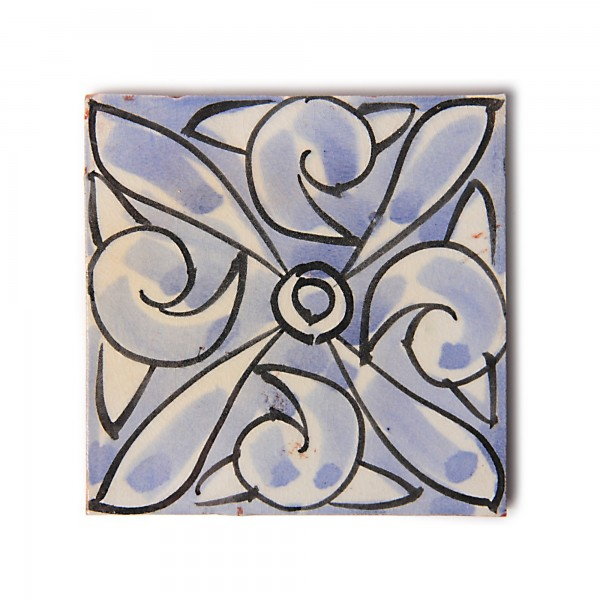 "Fliese ""Arabesque"", blau/weiß, L 10 cm, B 10 cm, H 1 cm"