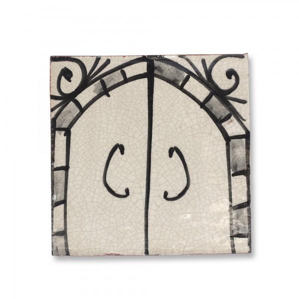 Kachel Craquelé, weiß, T 10 cm, B 10 cm, H 1 cm