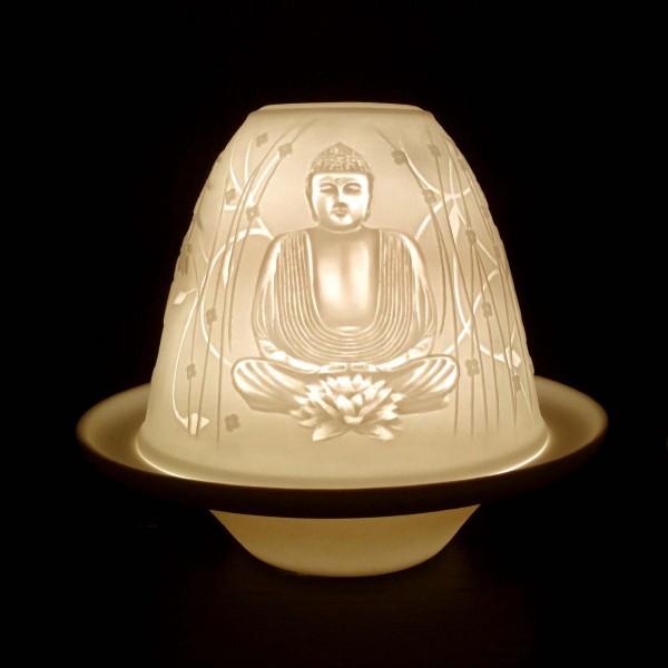 Windlicht 'Buddha' aus Porzellan, Ø 10 cm, H 9 cm