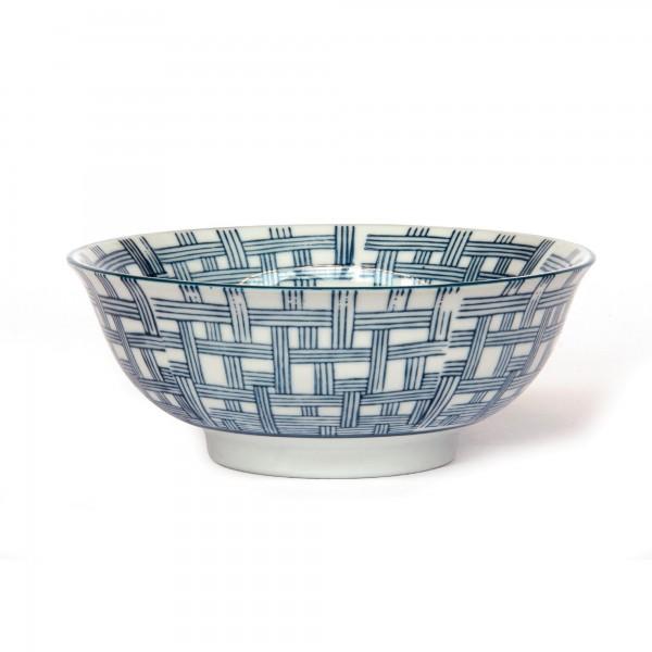 Suppenschale Flechtmuster, blau, T 15 cm, B 15 cm, H 6 cm