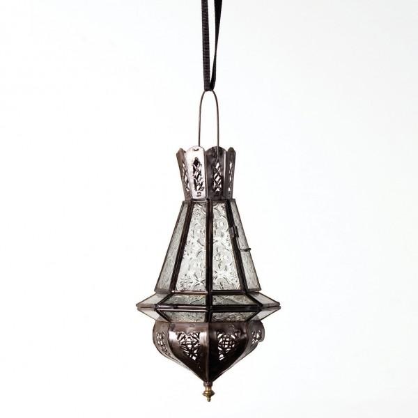 Laterne 'Mini Tria Khalid' inkl. Glas (transparent), antik-braun, H 30 cm, Ø 15 cm