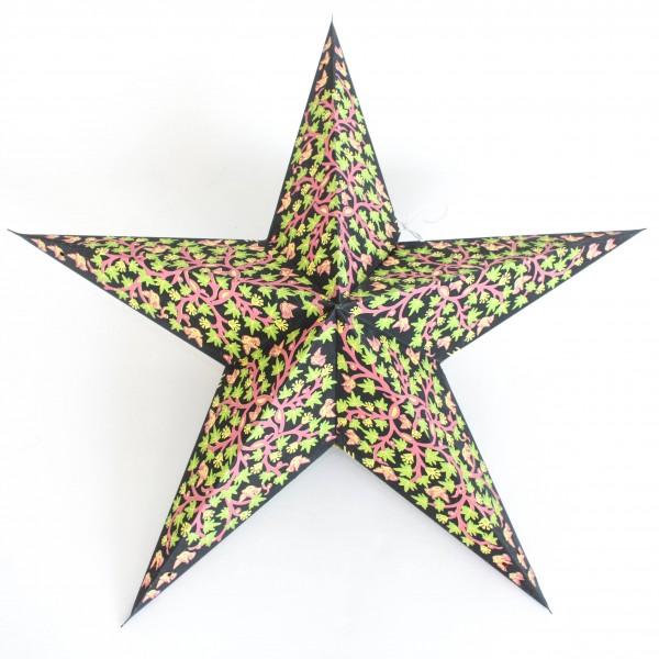 Papierstern 5-zackig mit Ranke, schwarz/lila, Ø 60 cm